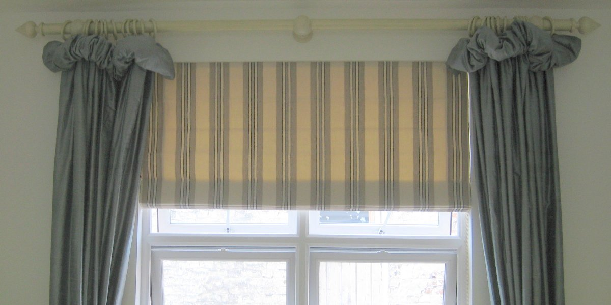 Roman blind using 'Biggie Best' fabric (sample available) teamed with James Hare silk curtains made by Marialina
