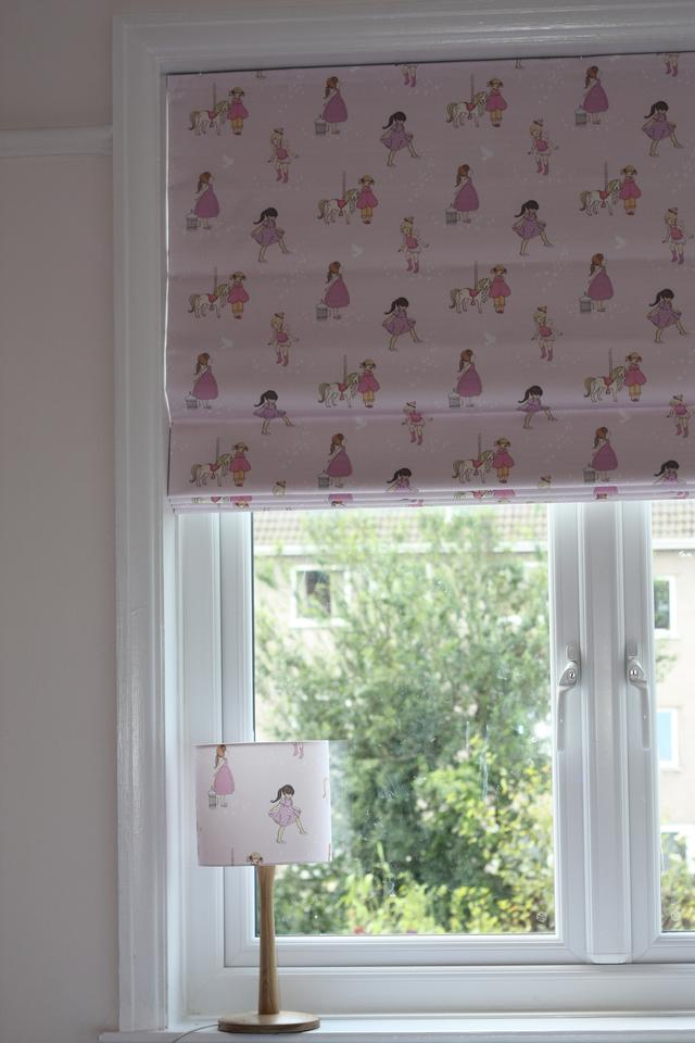 Blackout blind made in lovely BELLE & BOO fabric with a pretty lampshade to match.